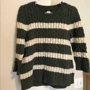 J.Crew Green and White striped sweater, S